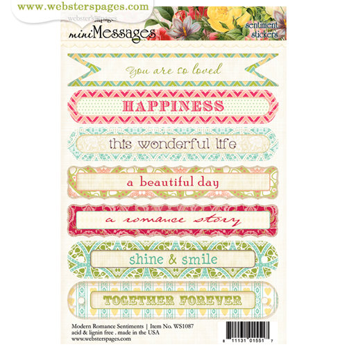 Websters Pages - Modern Romance Collection - Cardstock Stickers - Mini Messages - Sentiments