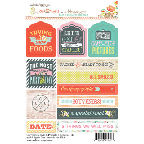 Websters Pages - Our Travels Collection - Cardstock Stickers - Mini Messages - Tags and Prompts