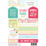 Websters Pages - Growing Up Girl Collection - Cardstock Stickers - Mini Messages - Tags and Prompts