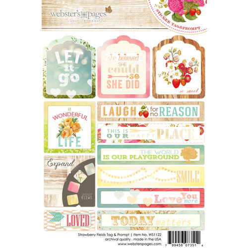 Websters Pages - Strawberry Fields Collection - Cardstock Stickers - Tag and Prompt