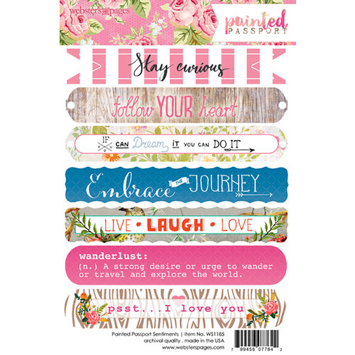 Websters Pages - Painted Passport Collection - Cardstock Stickers - Sentiment
