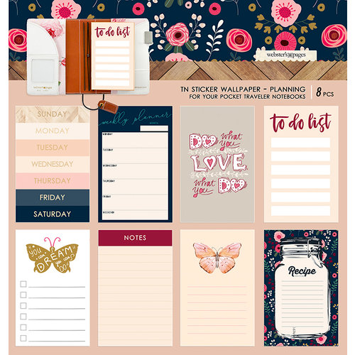 Websters Pages - Love is in the Air Collection - Pocket Traveler - Sticker Wallpaper - Planning