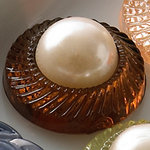 Websters Pages - Sparklers - Non Adhesive Designer Buttons - Rose and Pearl - Pearl Brown