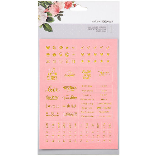 Websters Pages - Color Crush Collection - Faux Leather Stickers - Words - Pink