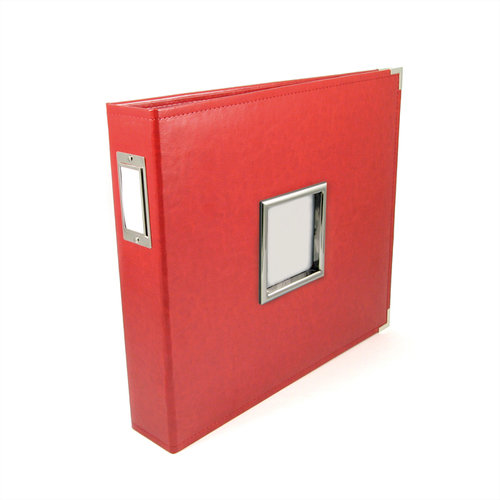 We R Memory Keepers - Classic Leather - 12 x 12 - Three Ring Albums with Window - Real Red