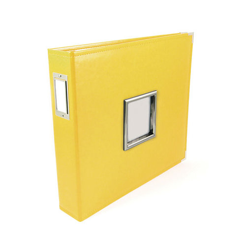 We R Memory Keepers - Classic Leather - 12 x 12 - Three Ring Albums with Window - Lemon