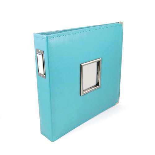 We R Memory Keepers - Classic Leather - 12 x 12 - Three Ring Albums with Window - Aqua