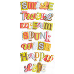 We R Memory Keepers - Twirl Collection - Self Adhesive Layered Chipboard with Glitter - Words