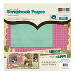 We R Memory Keepers - Vintage Blue Collection - 12 x 12 Pre-made Scrapbook Pages - Cmon Get Happy, CLEARANCE