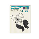 We R Memory Keepers - Vintage Blue Collection - Clear Acrylic Stamps - Butterfly, BRAND NEW