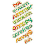 We R Memory Keepers - 72 and Sunny Collection - Self Adhesive Layered Chipboard with Glitter Accents - Words, CLEARANCE