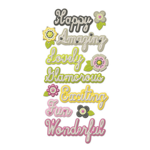 We R Memory Keepers - Retro Glam Collection - Self Adhesive Layered Chipboard - Words