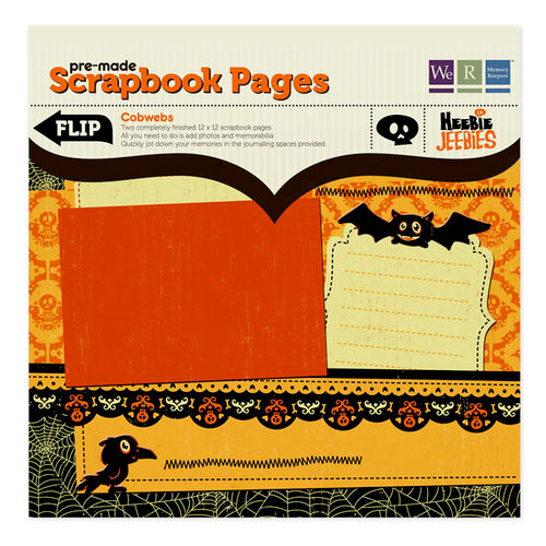 We R Memory Keepers - Heebie Jeebies Collection - Halloween - 12 x 12 Premade Scrapbook Pages with Glitter Accents - Cobwebs