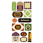 We R Memory Keepers - Heebie Jeebies Collection - Halloween - Self Adhesive Layered Chipboard with Glitter Accents - Tags, CLEARANCE
