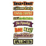 We R Memory Keepers - Heebie Jeebies Collection - Halloween - Self Adhesive Layered Chipboard with Glitter Accents - Words