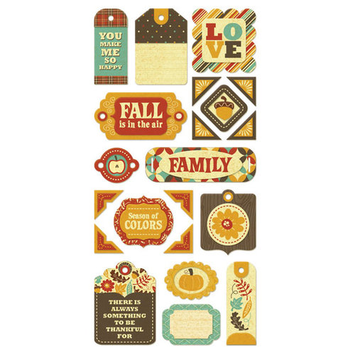 We R Memory Keepers - Maple Grove Collection - Self Adhesive Layered Chipboard with Foil Accents - Tags