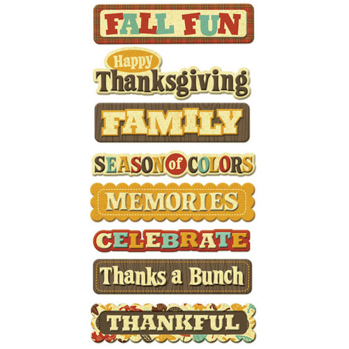 We R Memory Keepers - Maple Grove Collection - Self Adhesive Layered Chipboard with Foil Accents - Words, CLEARANCE