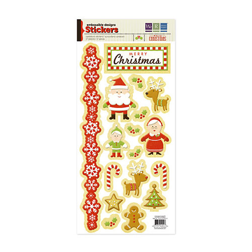 We R Memory Keepers - White Christmas Collection - Embossed Cardstock Stickers