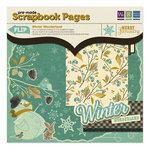 We R Memory Keepers - Merry January Collection - 12 x 12 Pre-made Scrapbook Pages with Foil and Glitter Accents - Winter Wonder