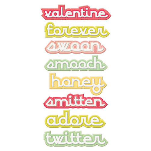 We R Memory Keepers - Be My Valentine Collection - Self Adhesive Layered Chipboard with Flocked Accents - Words