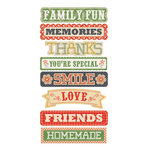 We R Memory Keepers - Family Keepsake Collection - Self Adhesive Layered Chipboard with Glitter Accents - Words
