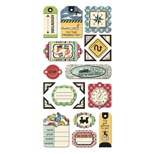 We R Memory Keepers - Travel Light Collection - Self Adhesive Layered Chipboard with Foil Accents - Tags