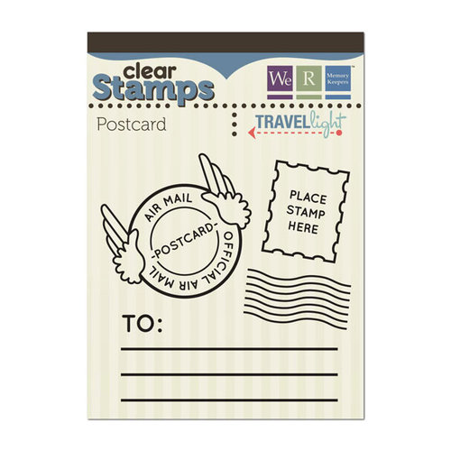 We R Memory Keepers - Travel Light Collection - Clear Acrylic Stamps - Postcard