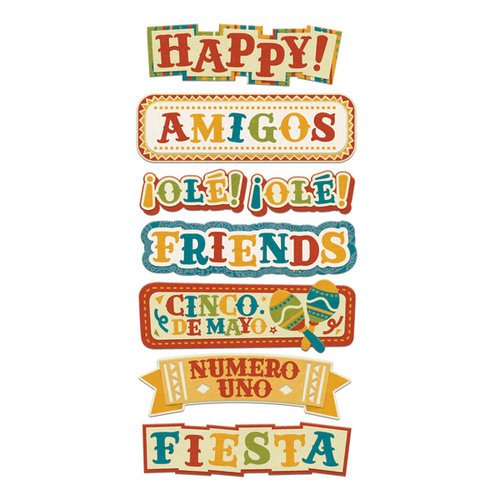 We R Memory Keepers - Fiesta Collection - Self Adhesive Layered Chipboard with Flocked Accents - Words