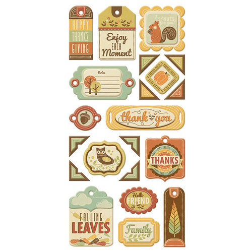 We R Memory Keepers - Autumn Splendor Collection - Self Adhesive Layered Chipboard with Glitter Accents - Tags