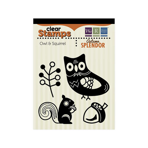 We R Memory Keepers - Autumn Splendor Collection - Clear Acrylic Stamps - Owl and Squirrel