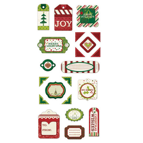 We R Memory Keepers - Peppermint Twist Collection - Christmas - Self Adhesive Layered Chipboard with Glitter Accents - Tags