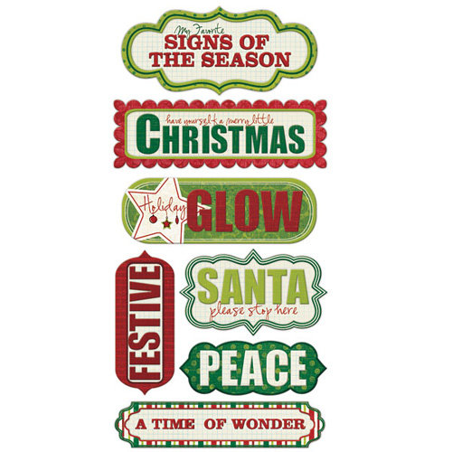We R Memory Keepers - Peppermint Twist Collection - Christmas - Self Adhesive Layered Chipboard with Glitter Accents - Words