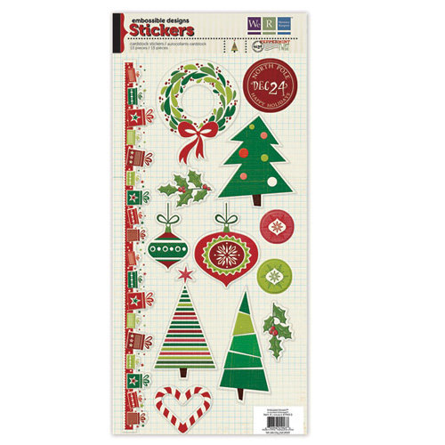 We R Memory Keepers - Peppermint Twist Collection - Christmas - Embossed Cardstock Stickers