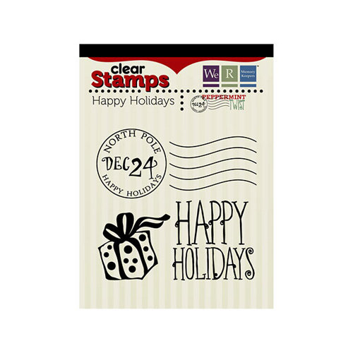 We R Memory Keepers - Peppermint Twist Collection - Christmas - Clear Acrylic Stamps - Happy Holidays