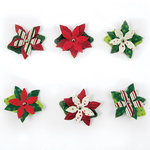 We R Memory Keepers - Peppermint Twist Collection - Christmas - Paper Poinsettia Brads