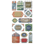 We R Memory Keepers - Vintage T Collection - Self Adhesive Layered Chipboard with Foil Accents - Tags