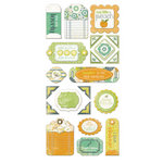 We R Memory Keepers - Good Day Sunshine Collection - Self Adhesive Layered Chipboard with Glitter Accents - Tags