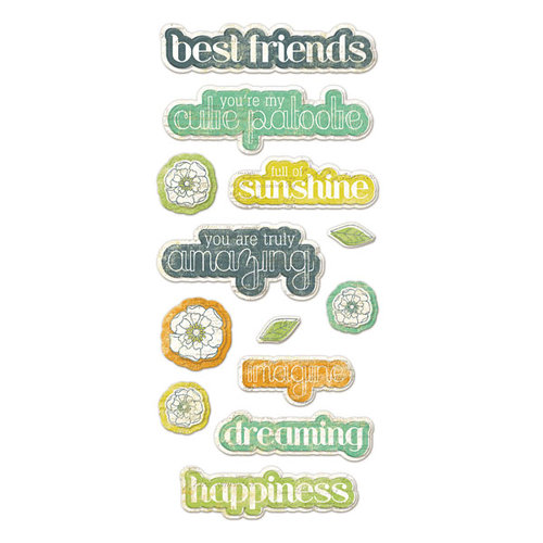 We R Memory Keepers - Good Day Sunshine Collection - Self Adhesive Layered Chipboard with Glitter Accents - Words