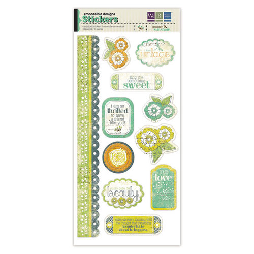 We R Memory Keepers - Good Day Sunshine Collection - Embossed Cardstock Stickers