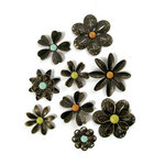 We R Memory Keepers - Good Day Sunshine Collection - Metal Flowers and Brads