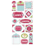 We R Memory Keepers - Love Struck Collection - Self Adhesive Layered Chipboard with Glitter Accents - Tags