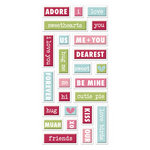 We R Memory Keepers - Love Struck Collection - Self Adhesive Layered Chipboard with Glitter Accents - Words