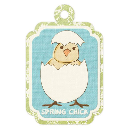 We R Memory Keepers - Cotton Tail Collection - Embossed Tags - Spring Chick