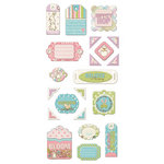 We R Memory Keepers - Cotton Tail Collection - Self Adhesive Layered Chipboard with Glitter Accents - Tags