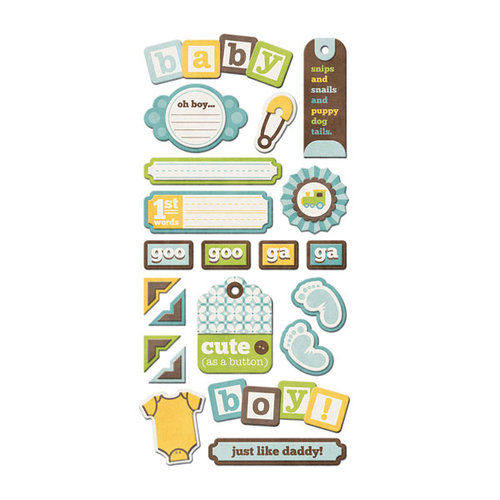 We R Memory Keepers - Baby Mine Collection - Self Adhesive Layered Chipboard with Varnish Accents - Tags - Boy