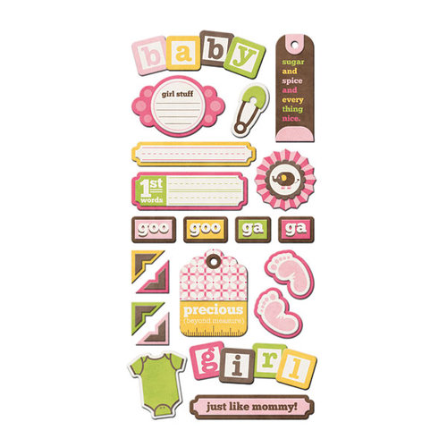 We R Memory Keepers - Baby Mine Collection - Self Adhesive Layered Chipboard with Varnish Accents - Tags - Girl
