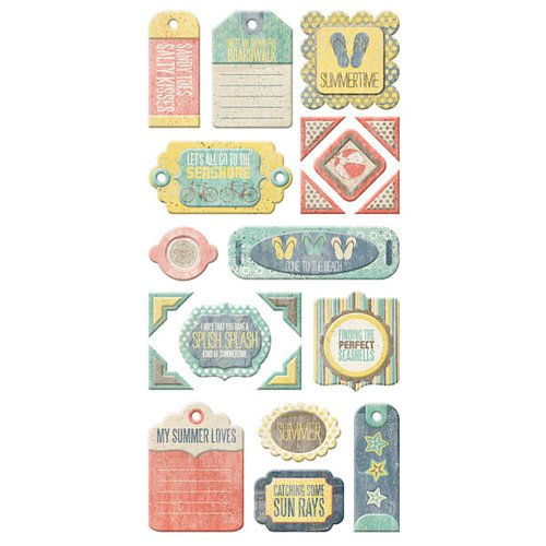 We R Memory Keepers - Down the Boardwalk Collection - Self Adhesive Layered Chipboard with Glitter Accents - Tags