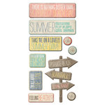 We R Memory Keepers - Down the Boardwalk Collection - Self Adhesive Layered Chipboard with Glitter Accents - Words