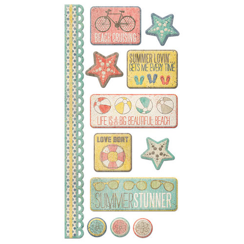 We R Memory Keepers - Down the Boardwalk Collection - Embossed Cardstock Stickers