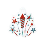 We R Memory Keepers - Red White and Blue Collection - Embossed Tags - Fireworks